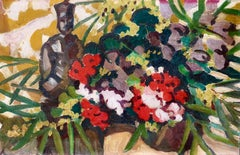 Flowers - 19th Century Oil, Still Life of Flowers & Statue by Louis Valtat
