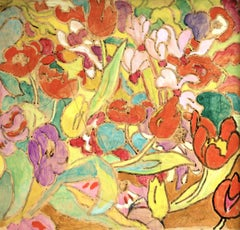 Flowers - 20th Century Fauvist Oil, Bright Flowers by Louis Valtat