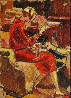 La Couturiere en robe rouge dans fauteuil