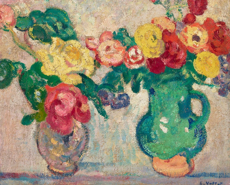 Vibrantly hued flowers burst forth with color in this Post-Impressionist composition by the French painter Louis Valtat. Les Vases de Fleurs is a prime example of Valtat's signature style, which was defined by coloristic expression and unyielding