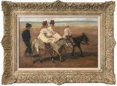 """Horseback Riding on the Beach"" Romantic Parisian Impressionistic Oil Painting"