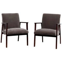 Louis Van Teefelen Inspired Pair of Slipper Lounge Chairs with Grey Mohair