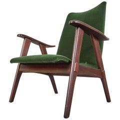 "Louis Van Teeffelen Teak and Velvet  ""Lounge Chair 1"""