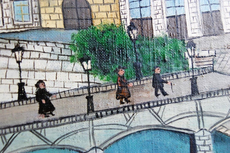 Louis Vivin was a self-taught artist.  He painted in the naive style and was a contemporary of Henri Rousseau, Camille Bombois, André Bauchant. Le Pont Des Arts depicts the famous pedestrian bridge with a view of the Institut de France in the