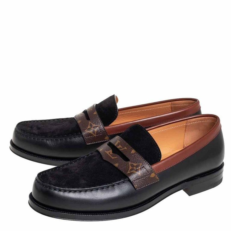 Men's Louis Vuitto Black/Brown Monogram Canvas And Suede Sorbonne Loafers Size 42