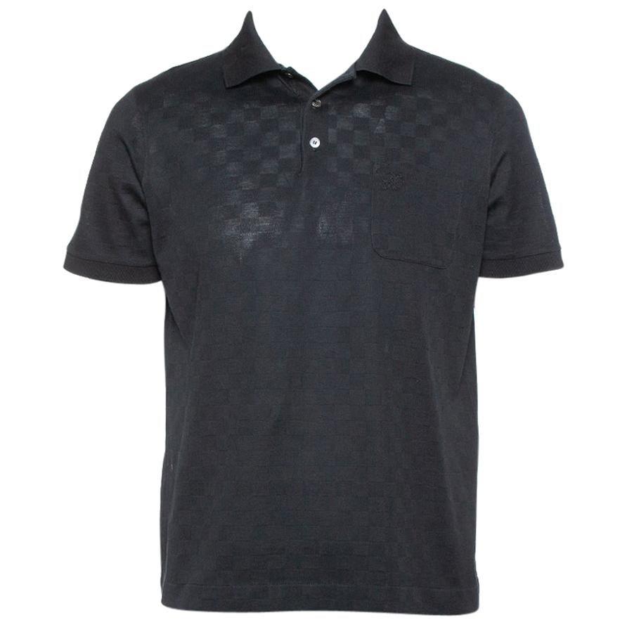 Louis Vuitto Black Cotton Damier Pique Polo T-Shirt L