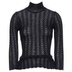 LOUIS VUITTON 100% cashmere black lace loose knit  turtleneck sweater top M