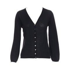 LOUIS VUITTON 100% cashmere black logo floral mother of pearl button cardigan S