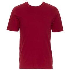 LOUIS VUITTON 100% cotton red crew neck short sleeve LV logo tab t-shirt S