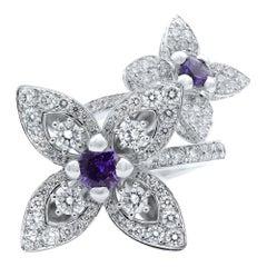 Louis Vuitton 18 Karat White Gold Diamond Les Luxuriantes Amethyst Ring