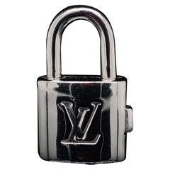 Louis Vuitton 18 Karat White Gold Padlock Charm with Chain