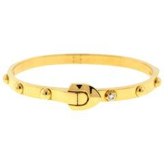 Louis Vuitton 18 Karat Yellow Gold Diamond Clous Bangle Bracelet