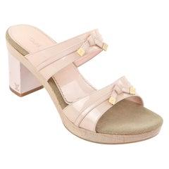 LOUIS VUITTON 2004 Opalescent Baby Pink Patent Leather Block Heel Slide Sandals