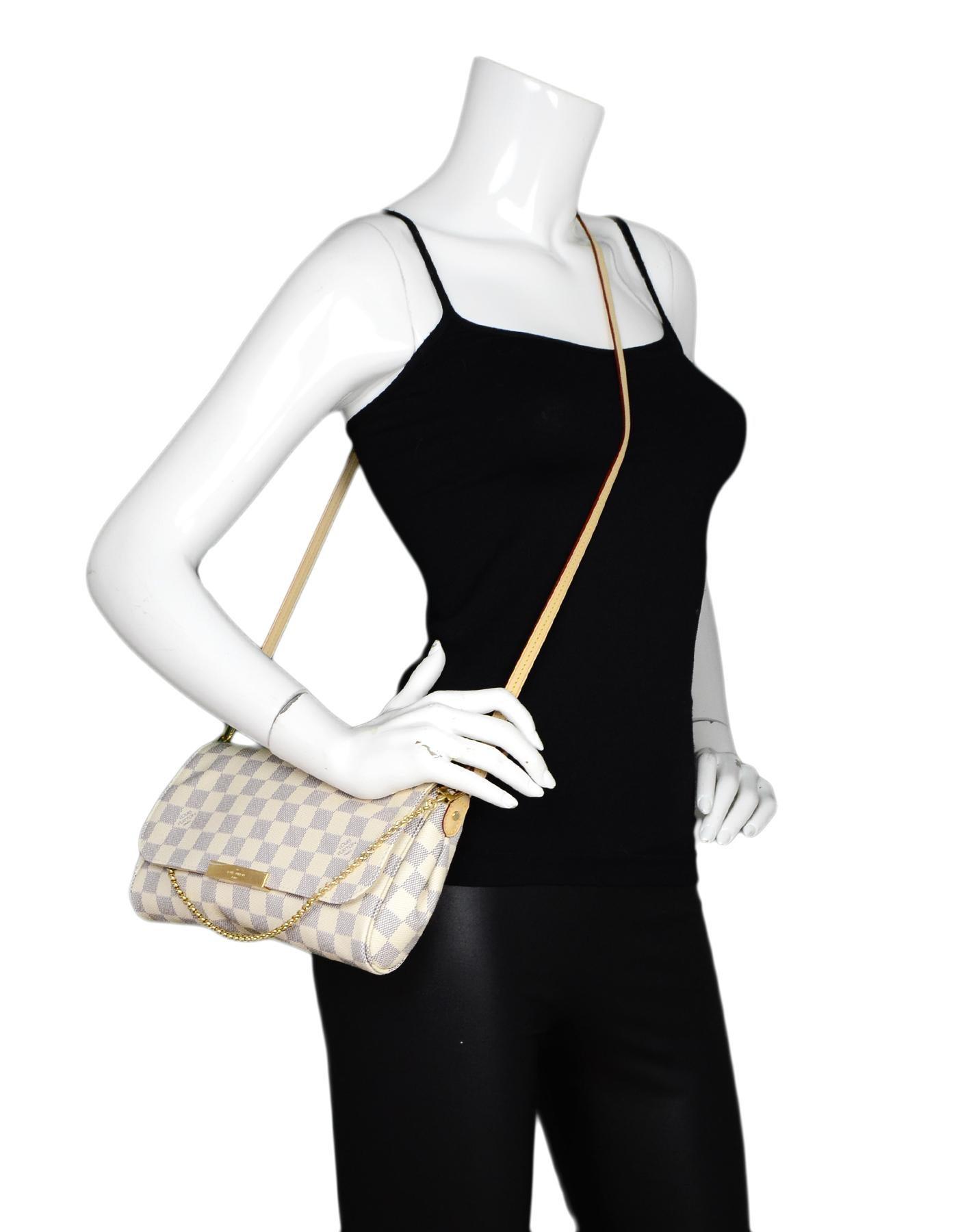 16241a402d3 Louis Vuitton 2018 Damier Azur Canvas Favorite MM Crossbody Bag For Sale at  1stdibs