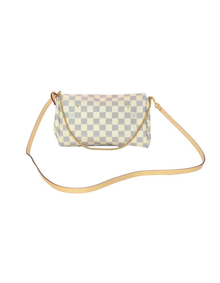 825b157d16af4 Louis Vuitton 2018 Damier Azur Canvas Favorite MM Crossbody Bag In  Excellent Condition For Sale In