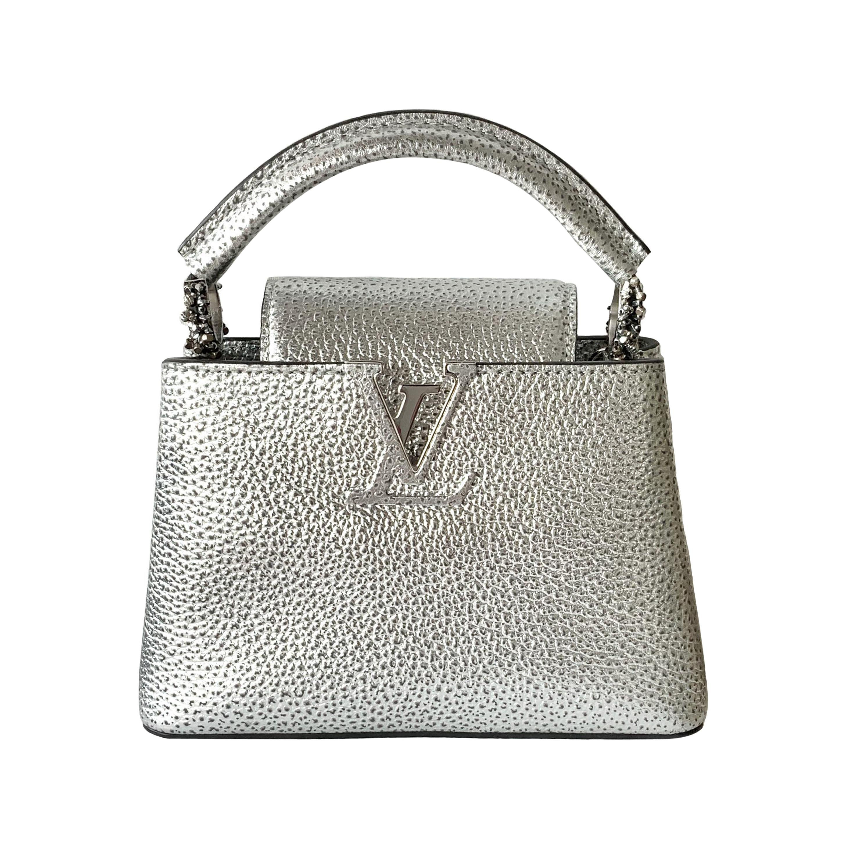 Louis Vuitton 2018 Limited Edition Metallic Silver Capucines Mini Bag