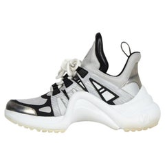 Louis Vuitton 2018 Silver/Black Archlight Reflective Sneakers sz 39 rt $1,500