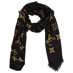 Louis Vuitton 2019 SOLD OUT Black Silk Wool Monogram Giant Jungle Shawl Scarf