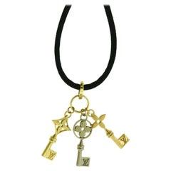 Louis Vuitton 3 Key Tri Gold 18k Yellow, Rose, & White Gold Necklace, Black Silk