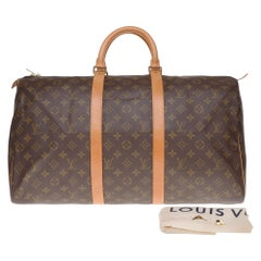 Louis Vuitton 50 Travel bag in monogram canvas and natural  calf leather!