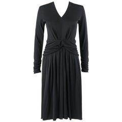 LOUIS VUITTON A/W 2009 Black Knit Ruched Peplum Long Sleeve Cocktail Dress