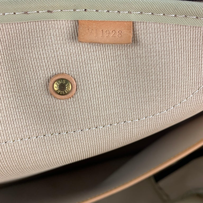 LOUIS VUITTON Alize 2 Poches Brown Leather Monogram Vachetta Trim Canvas Bag For Sale 7