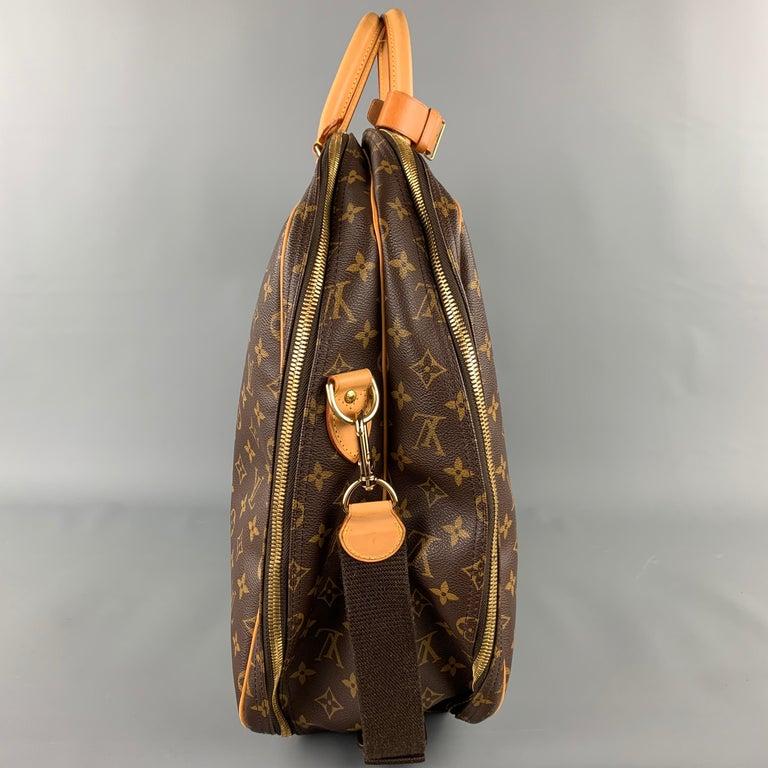 LOUIS VUITTON Alize 2 Poches Brown Leather Monogram Vachetta Trim Canvas Bag In Good Condition For Sale In San Francisco, CA