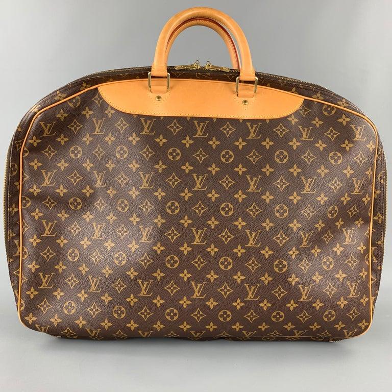 Men's LOUIS VUITTON Alize 2 Poches Brown Leather Monogram Vachetta Trim Canvas Bag For Sale