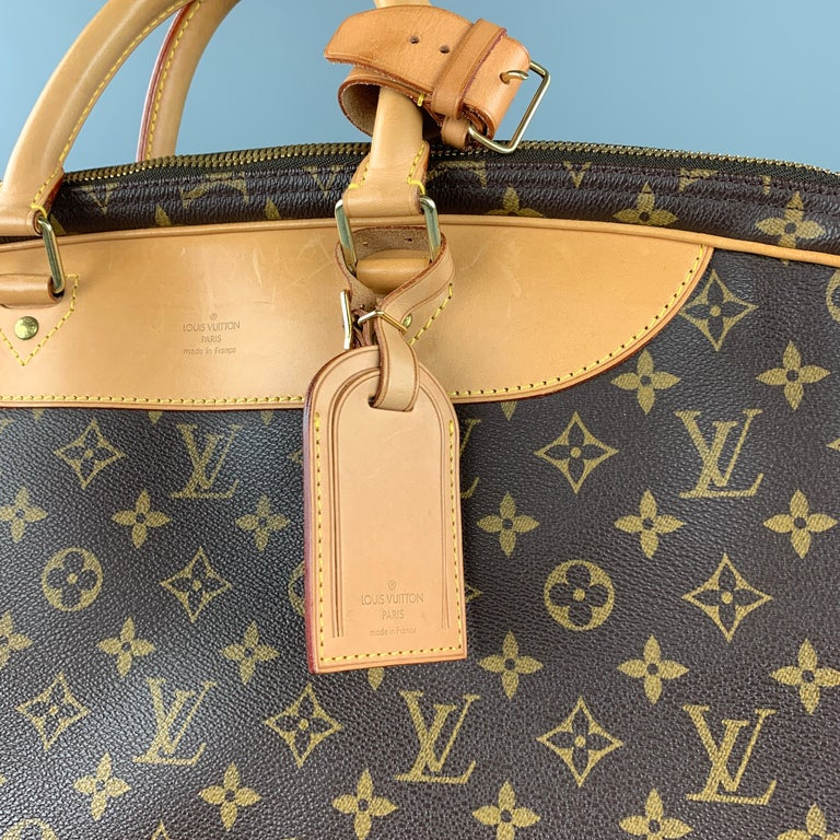 LOUIS VUITTON Alize 2 Poches Brown Leather Monogram Vachetta Trim Canvas Bag For Sale 1