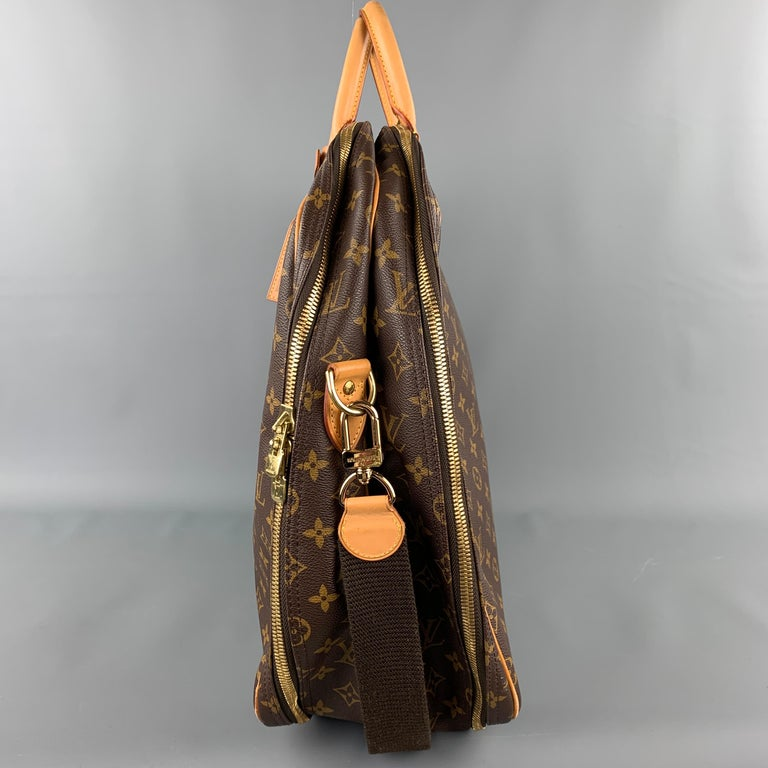 LOUIS VUITTON Alize 2 Poches Brown Leather Monogram Vachetta Trim Canvas Bag For Sale 2