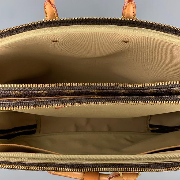 LOUIS VUITTON Alize 2 Poches Brown Leather Monogram Vachetta Trim Canvas Bag For Sale 4