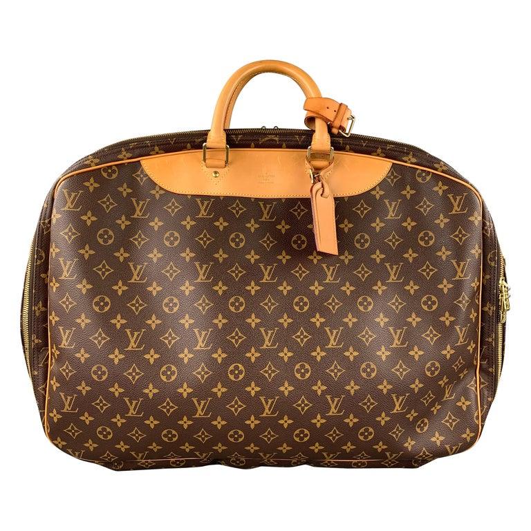 LOUIS VUITTON Alize 2 Poches Brown Leather Monogram Vachetta Trim Canvas Bag For Sale