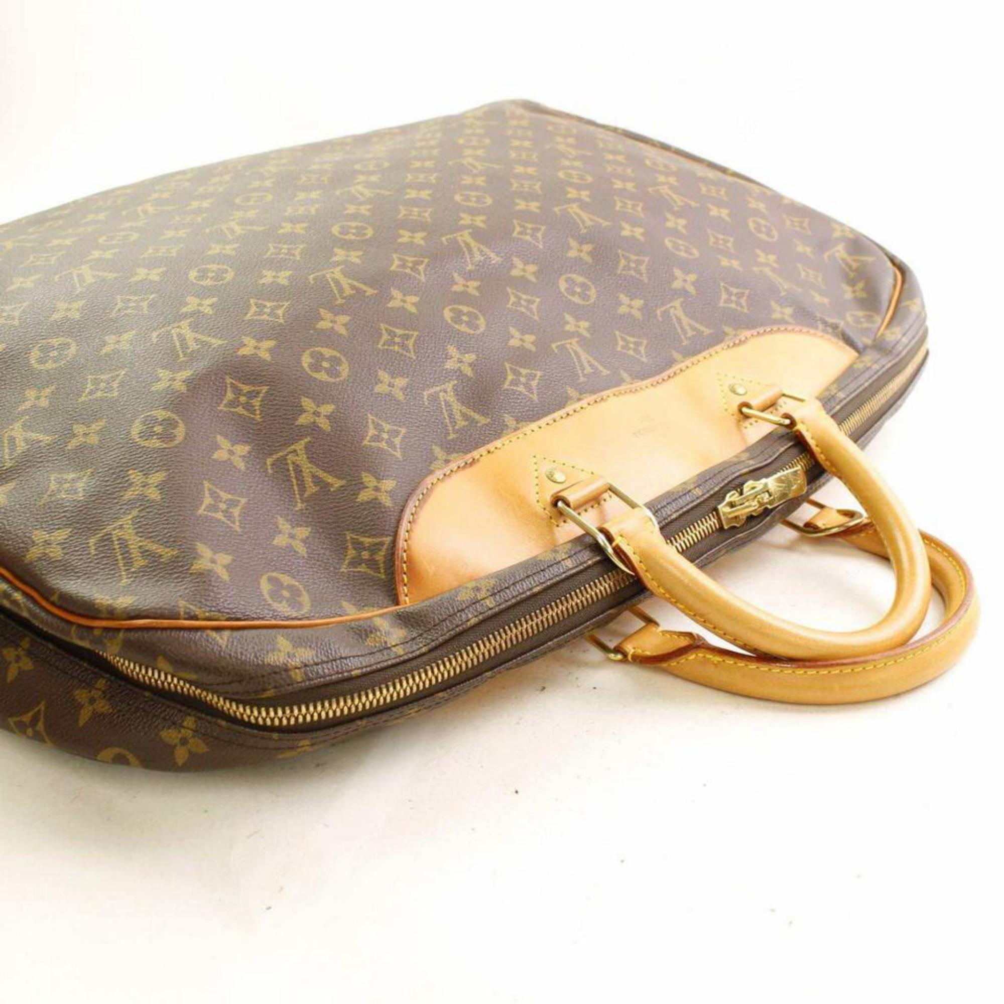 c1b4758d710f Louis Vuitton Alize Monogram 866377 Brown Coated Canvas Weekend Travel Bag  For Sale at 1stdibs