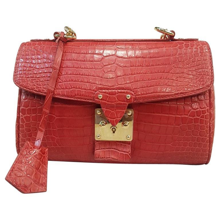 LOUIS VUITTON Alligator Mat Red Bag