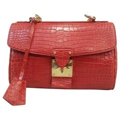 LOUIS VUITTON Alligator Mat Red Bag