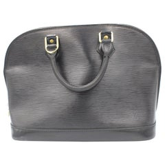 Louis Vuitton Alma handbag in black épi leather