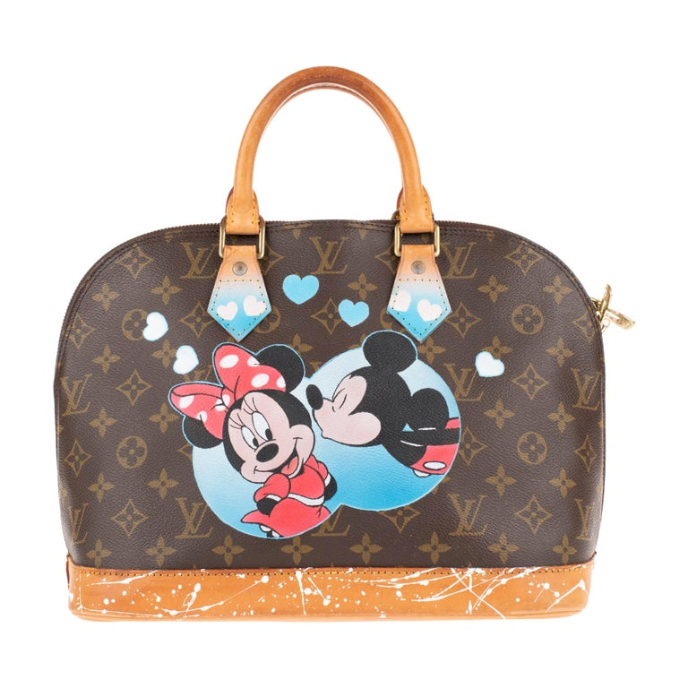 """Louis Vuitton Alma Monogram customized """"Minnie&Mickey"""" by the artist PatBo ! For Sale"""