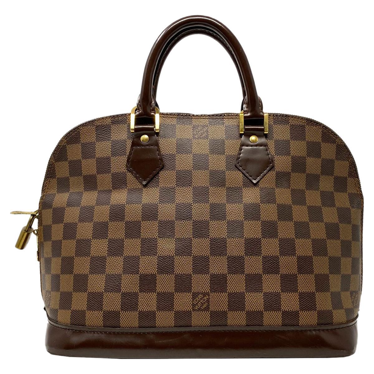 Louis Vuitton Alma Pm Damier Ebene Leather Canvas Handbag