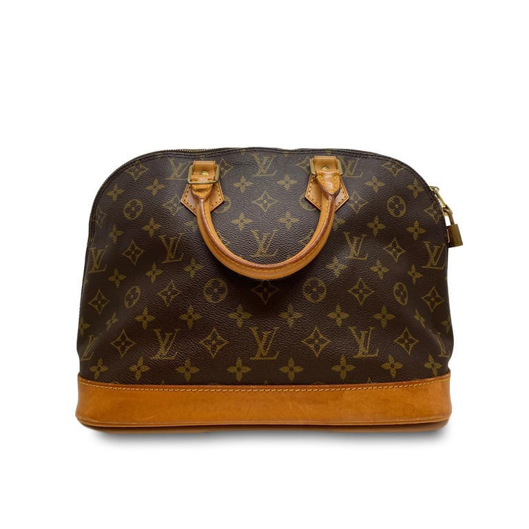 "The Louis Vuitton Alma is a classic closet staple, first introduced and inspired by the architect of the Art Deco era of the early 1930's. Originally designed by Gaston-Louis Vuitton, the bag was originally named ""Champs-Elysées"" after the famous"