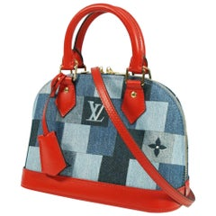 LOUIS VUITTON almaBB Womens handbag M45042 blue/ red