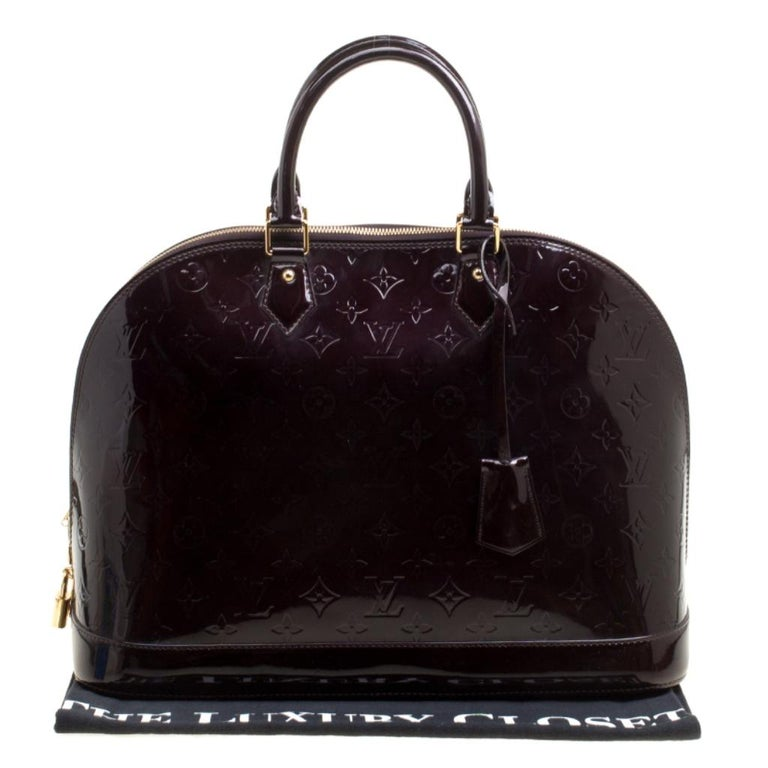 Louis Vuitton Amarante Monogram Vernis Alma GM Bag For Sale 8