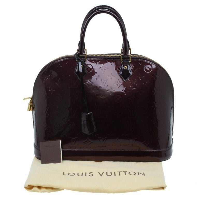Louis Vuitton Amarante Monogram Vernis Alma GM Bag For Sale 14