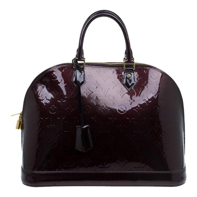 Louis Vuitton Amarante Monogram Vernis Alma GM Bag For Sale