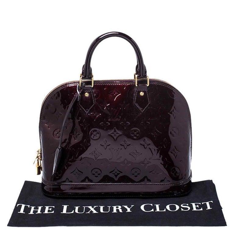 Louis Vuitton Amarante Monogram Vernis Alma PM Bag For Sale 7