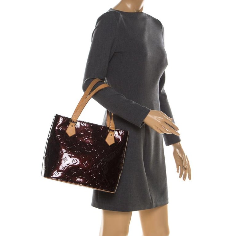 Black Louis Vuitton Amarante Monogram Vernis Leather Houston Bag For Sale