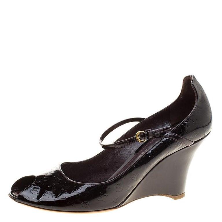 c57d109ab34c Louis Vuitton Amarante Monogram Vernis Peep Toe Ankle Strap Wedge Pumps Size  39 For Sale