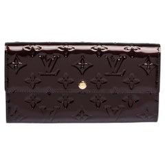 Louis Vuitton Amarante Monogram Vernis Sarah Continental Wallet