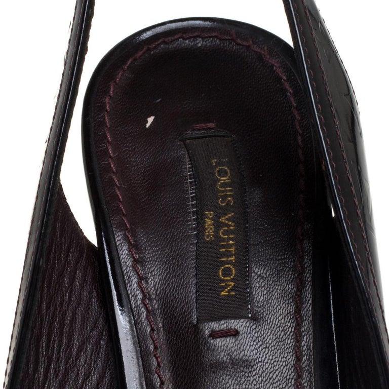 Louis Vuitton Amarante Monogram Vernis Tamara Slingback Sandals Size 37 For Sale 1