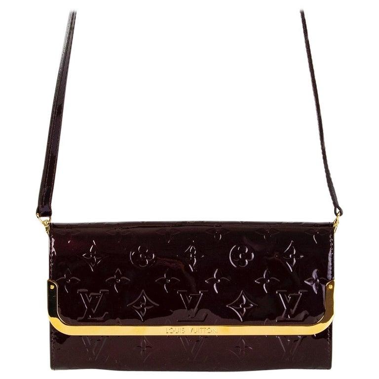 LOUIS VUITTON Amarante purple Monogram Vernis ROSSMORE MM Shoulder Bag For Sale