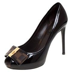 Louis Vuitton Amarante Vernis Leather Ebene Canvas BowPeep Toe Pumps Size 36.5